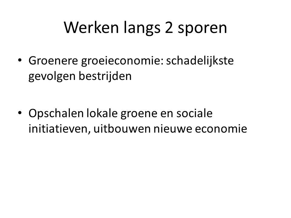 Werken langs 2 sporen Groenere groeieconomie: schadelijkste gevolgen bestrijden Opschalen lokale groene en sociale initiatieven, uitbouwen nieuwe econ