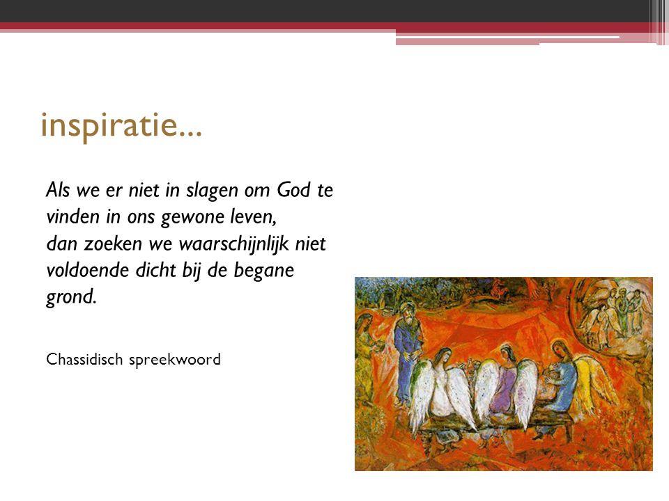 inspiratie... Als we er niet in slagen om God te vinden in ons gewone leven, dan zoeken we waarschijnlijk niet voldoende dicht bij de begane grond. Ch