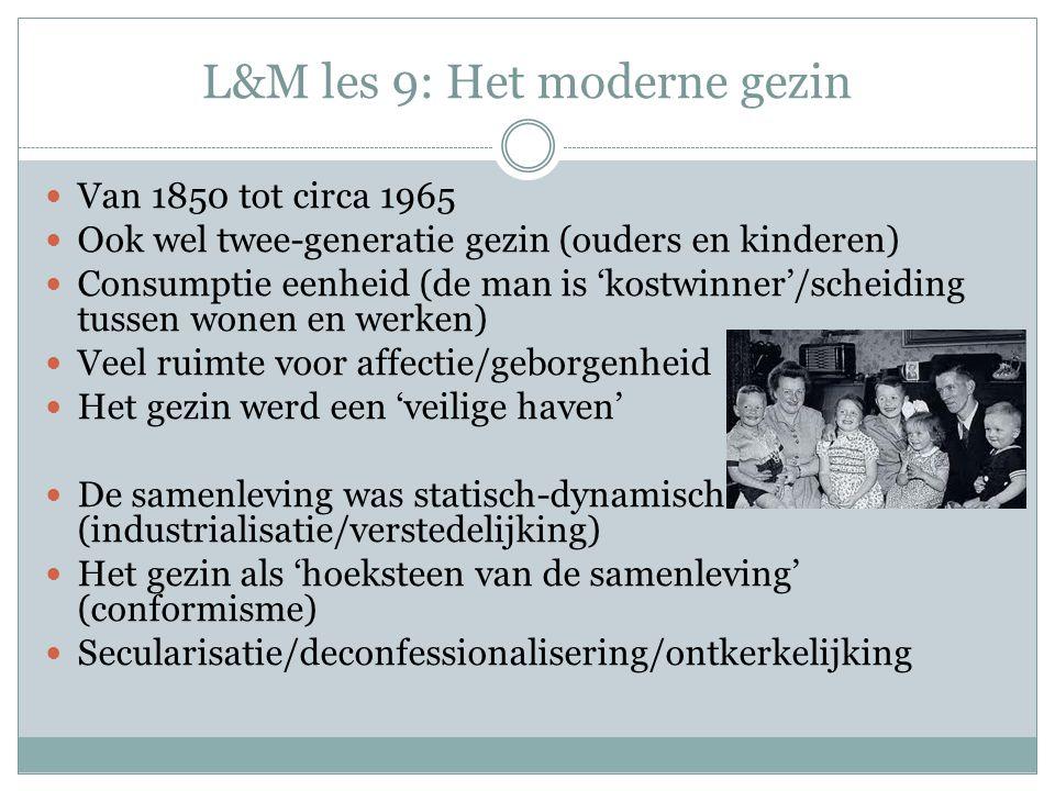 L&M les 9: Het moderne gezin Van 1850 tot circa 1965 Ook wel twee-generatie gezin (ouders en kinderen) Consumptie eenheid (de man is 'kostwinner'/scheiding tussen wonen en werken) Veel ruimte voor affectie/geborgenheid Het gezin werd een 'veilige haven' De samenleving was statisch-dynamisch (industrialisatie/verstedelijking) Het gezin als 'hoeksteen van de samenleving' (conformisme) Secularisatie/deconfessionalisering/ontkerkelijking