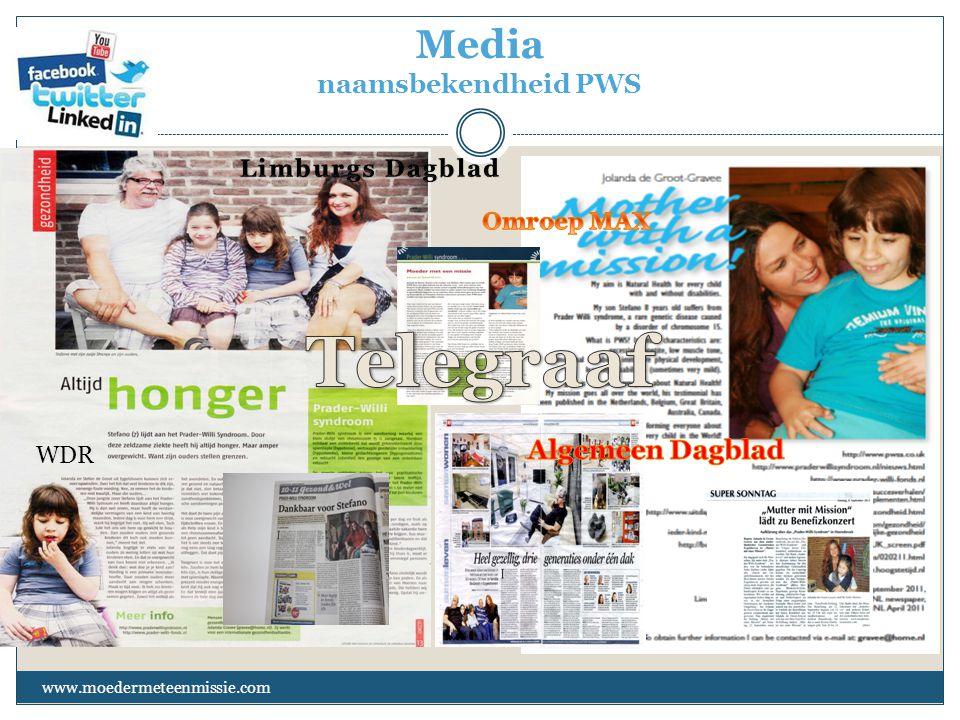 Media naamsbekendheid PWS www.moedermeteenmissie.com WDR