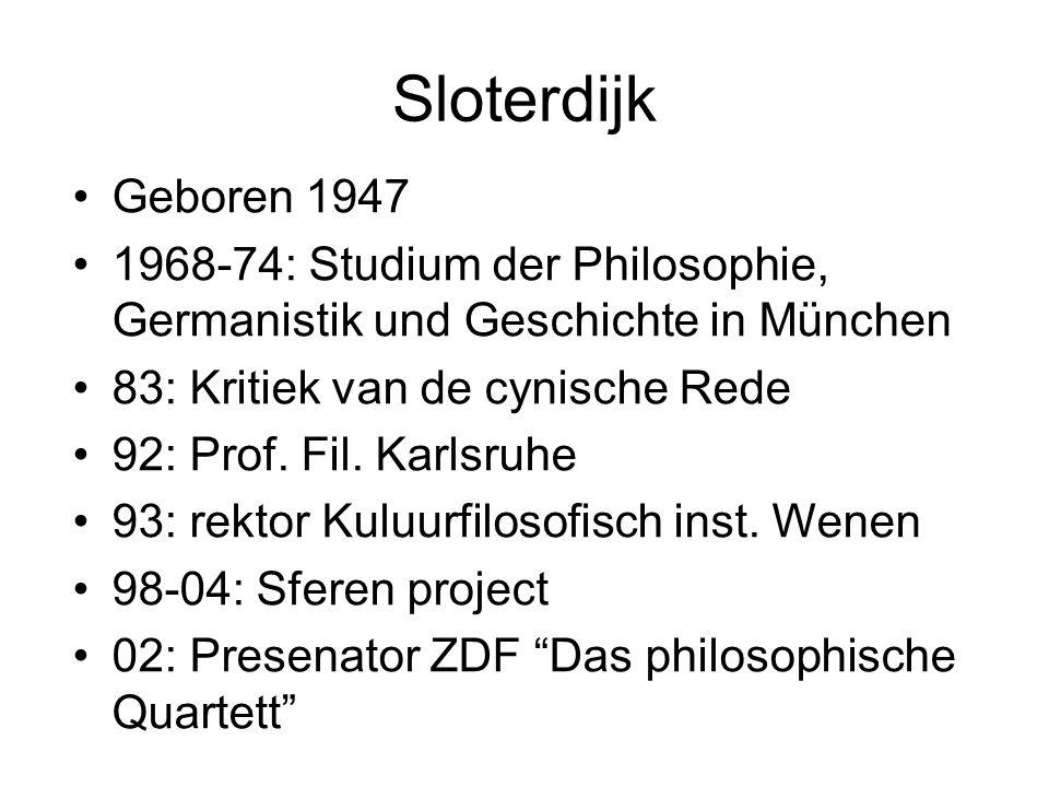 Sloterdijk Geboren 1947 1968-74: Studium der Philosophie, Germanistik und Geschichte in München 83: Kritiek van de cynische Rede 92: Prof.