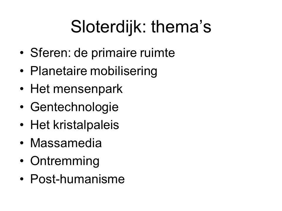 Sloterdijk: postmoderniteit Massamedia: einde van de tekst Autonome processen Mobilisering Explicitering Versnelling Ontremming De superinstallatie Fatalisme