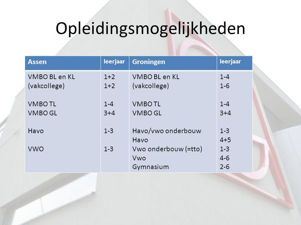 Opleidingsmogelijkheden Assen leerjaar Groningen leerjaar VMBO BL en KL (vakcollege) VMBO TL VMBO GL Havo VWO 1+2 1-4 3+4 1-3 VMBO BL en KL (vakcolleg