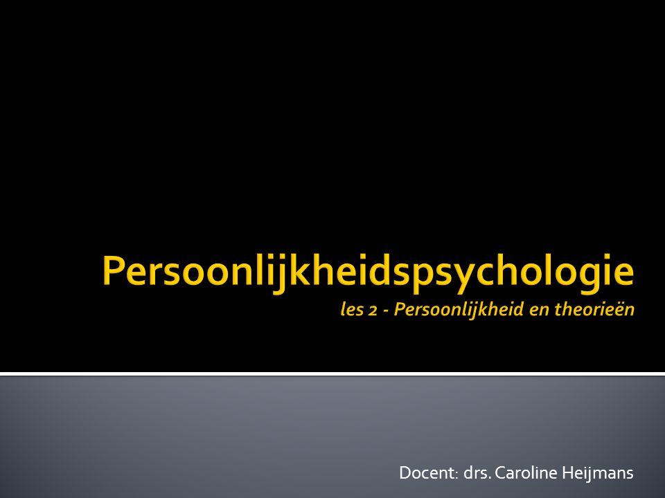  Jung  collectieve onderbewuste (archetypen)  Persoonlijkheid bestaat uit bepaalde voorkeuren bij tegenstellingen (introvert extravert)  Erikson en Adler  Meer nadruk op sociale variabelen  Persoonlijkheid kan zich gedurende het gehele leven ontwikkelen (c) drs.