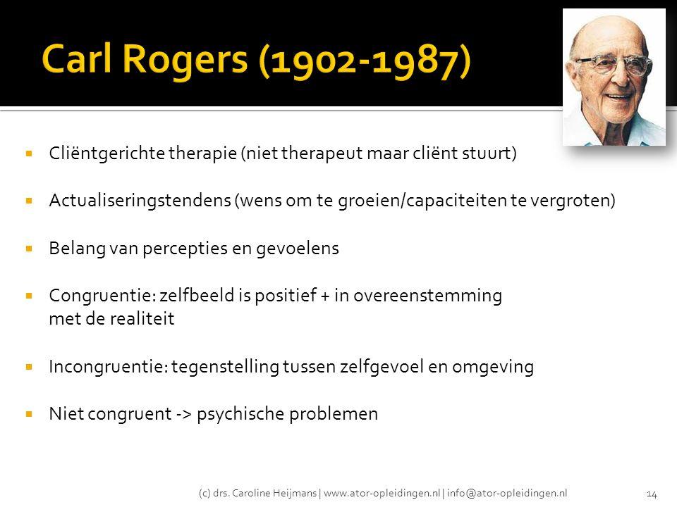  Cliëntgerichte therapie (niet therapeut maar cliënt stuurt)  Actualiseringstendens (wens om te groeien/capaciteiten te vergroten)  Belang van perc
