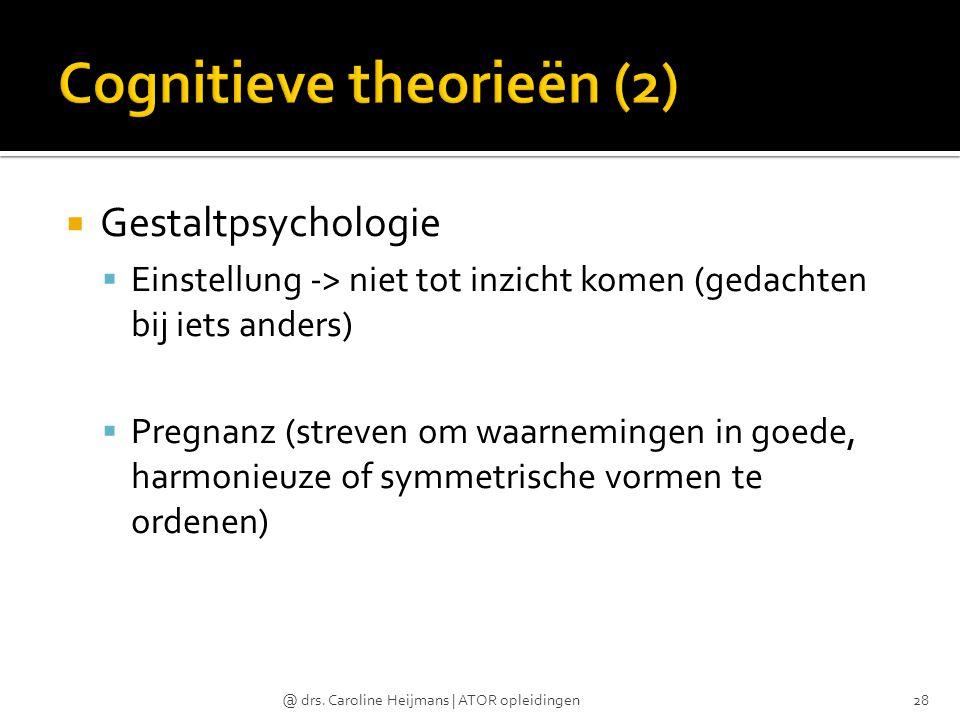  Gestaltpsychologie  Einstellung -> niet tot inzicht komen (gedachten bij iets anders)  Pregnanz (streven om waarnemingen in goede, harmonieuze of