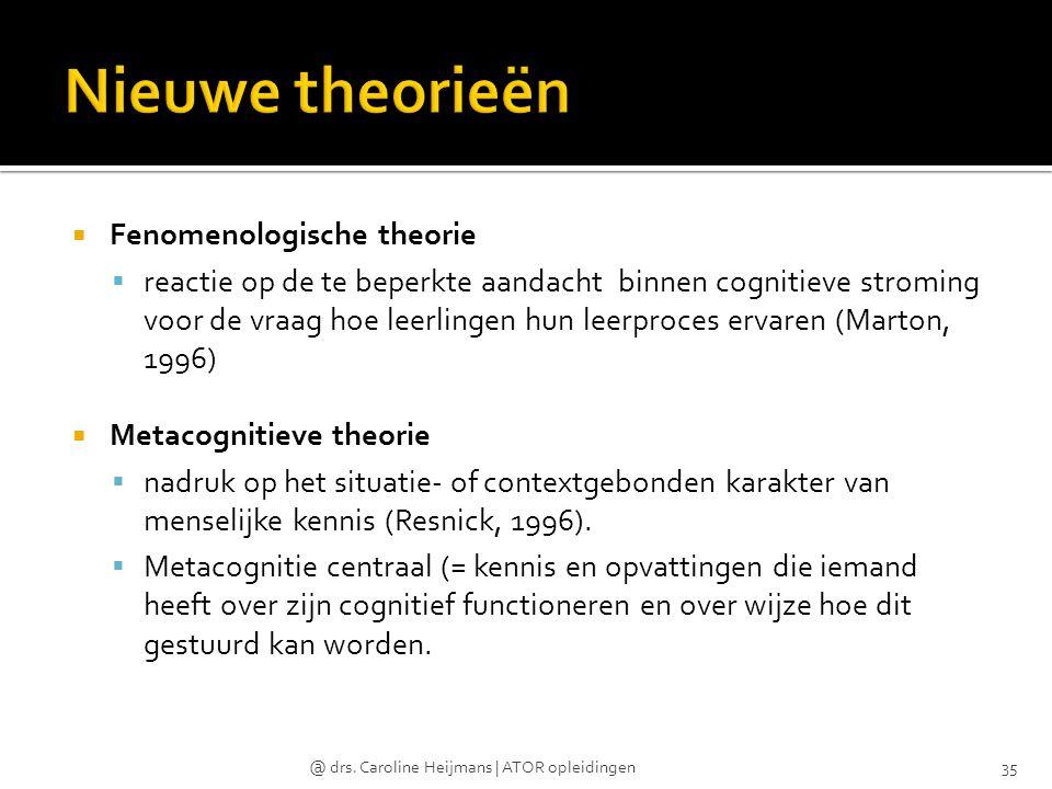  Fenomenologische theorie  reactie op de te beperkte aandacht binnen cognitieve stroming voor de vraag hoe leerlingen hun leerproces ervaren (Marton