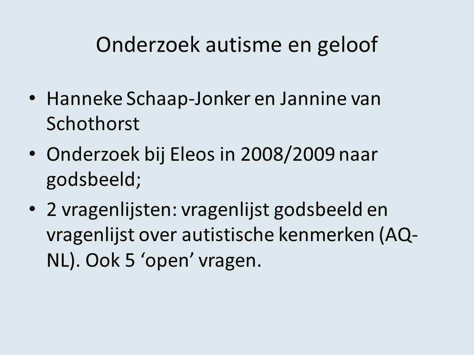 Onderzoek autisme en geloof Hanneke Schaap-Jonker en Jannine van Schothorst Onderzoek bij Eleos in 2008/2009 naar godsbeeld; 2 vragenlijsten: vragenli