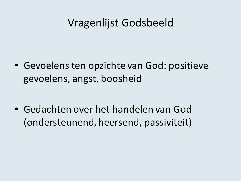 Vragenlijst Godsbeeld Gevoelens ten opzichte van God: positieve gevoelens, angst, boosheid Gedachten over het handelen van God (ondersteunend, heersen