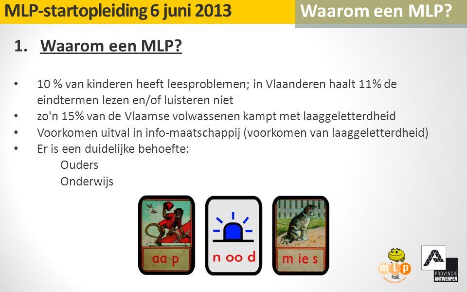 1.Waarom een MLP? 10 % van kinderen heeft leesproblemen; in Vlaanderen haalt 11% de eindtermen lezen en/of luisteren niet zo'n 15% van de Vlaamse volw
