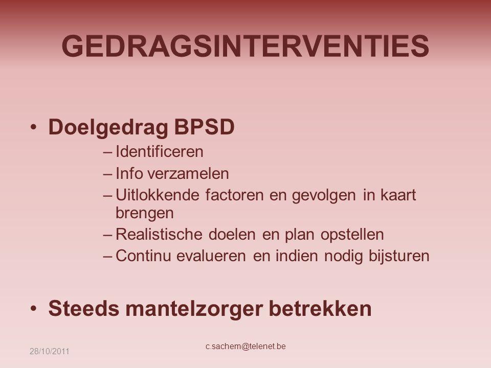 GEDRAGSINTERVENTIES Doelgedrag BPSD –Identificeren –Info verzamelen –Uitlokkende factoren en gevolgen in kaart brengen –Realistische doelen en plan op