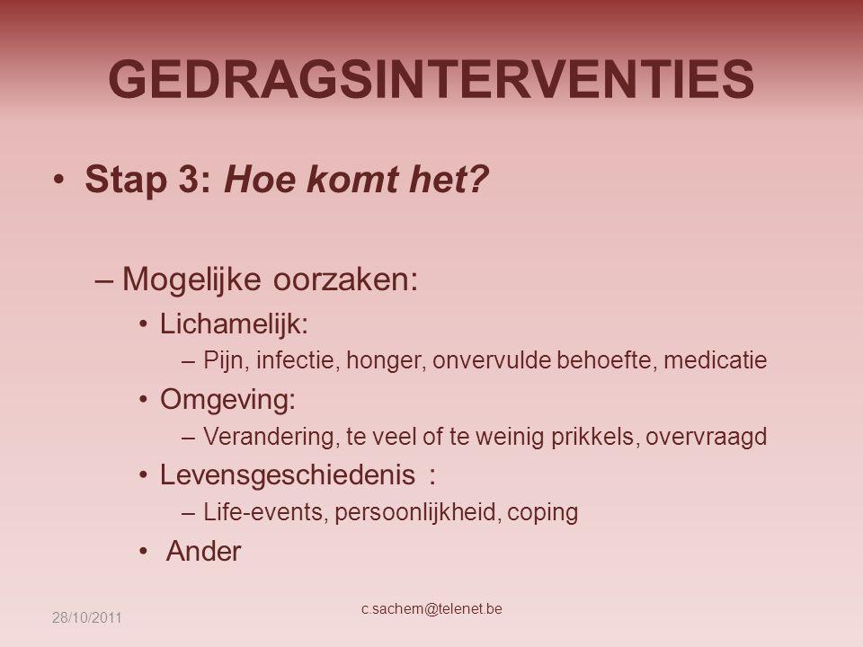 GEDRAGSINTERVENTIES Stap 3: Hoe komt het? –Mogelijke oorzaken: Lichamelijk: –Pijn, infectie, honger, onvervulde behoefte, medicatie Omgeving: –Verande