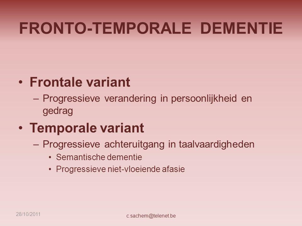 DEMENTIE: BPSD Verklarende modellen Achterliggende, onvervulde behoefte –Need Driven Dementia Compromised Behavior (Kolanowski, 2000) Toenemend verlies van adaptatie- en copingmechanismen –Progessively Lowered Stress Thresshold (Hall, 1994; Dröes, 1991) Multifactorieel (Kitwood, 1997) c.sachem@telenet.be28/10/2011