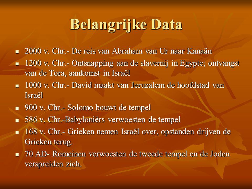 Belangrijke Data 2000 v. Chr.- De reis van Abraham van Ur naar Kanaän 2000 v. Chr.- De reis van Abraham van Ur naar Kanaän 1200 v. Chr.- Ontsnapping a