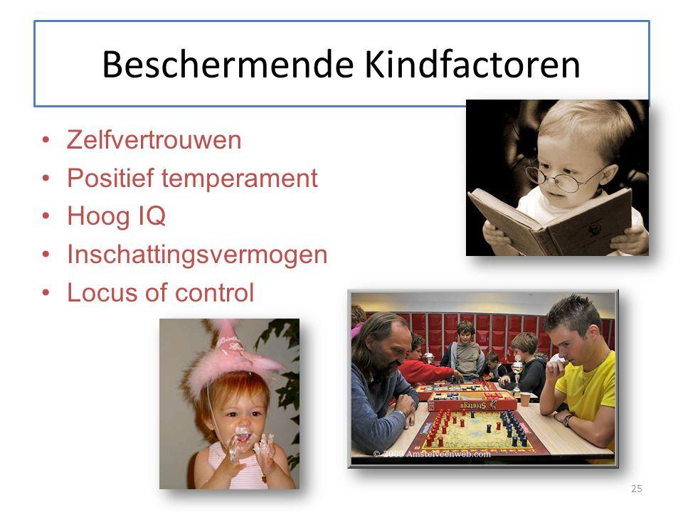 Beschermende Kindfactoren Zelfvertrouwen Positief temperament Hoog IQ Inschattingsvermogen Locus of control 25