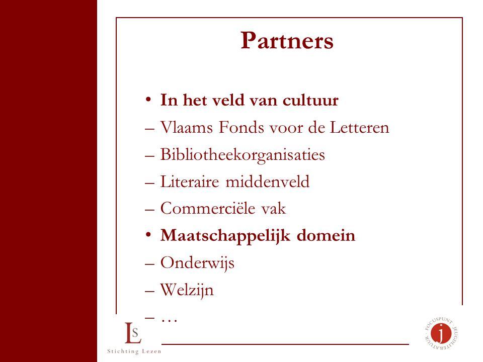 Partners In het veld van cultuur –Vlaams Fonds voor de Letteren –Bibliotheekorganisaties –Literaire middenveld –Commerciële vak Maatschappelijk domein –Onderwijs –Welzijn –…