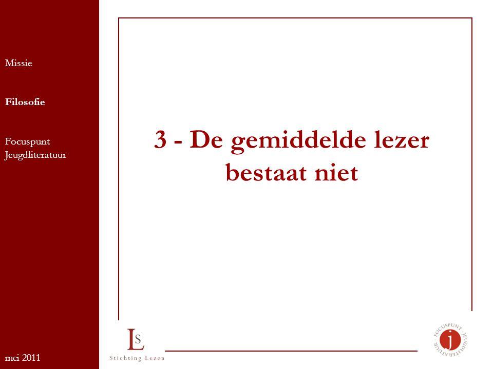 3 - De gemiddelde lezer bestaat niet Missie Filosofie Focuspunt Jeugdliteratuur mei 2011