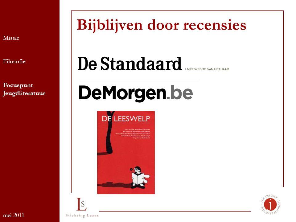 Bijblijven door recensies Missie Filosofie Focuspunt Jeugdliteratuur mei 2011