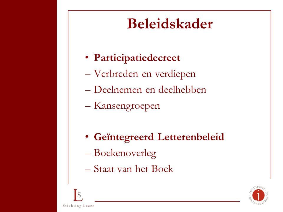 Beleidskader Participatiedecreet –Verbreden en verdiepen –Deelnemen en deelhebben –Kansengroepen Geïntegreerd Letterenbeleid –Boekenoverleg –Staat van het Boek