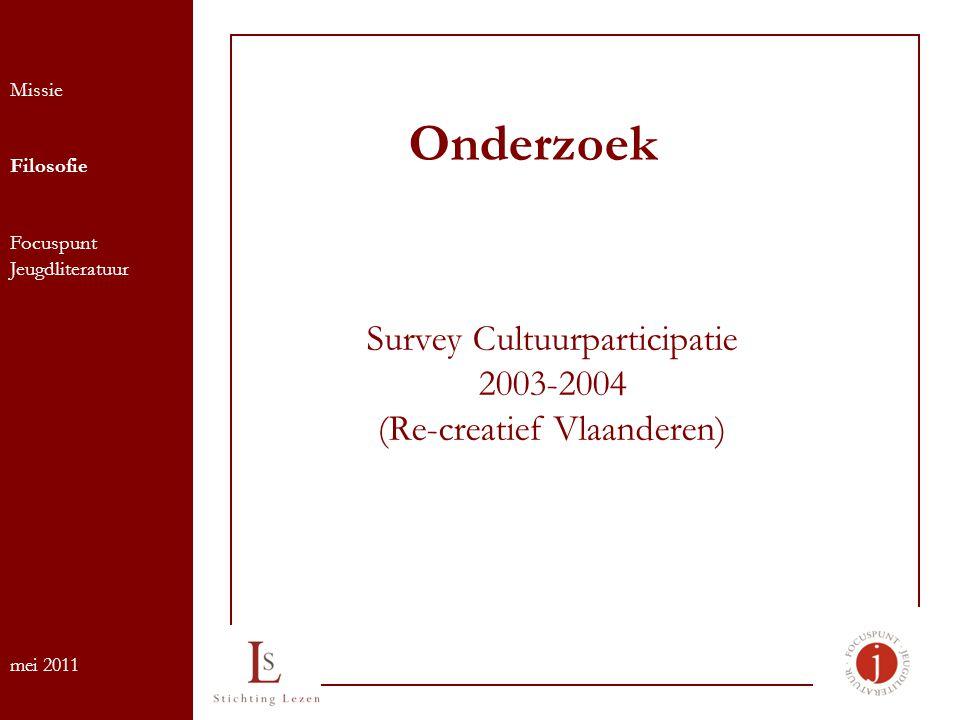 Onderzoek Survey Cultuurparticipatie 2003-2004 (Re-creatief Vlaanderen) Missie Filosofie Focuspunt Jeugdliteratuur mei 2011