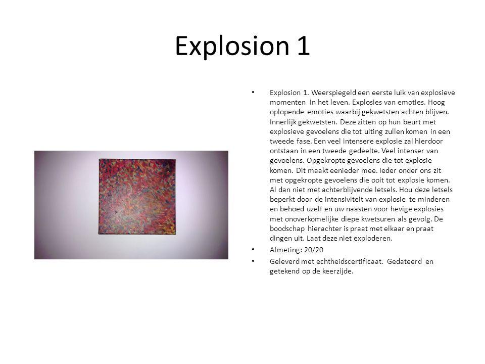 Explosion 1 Explosion 1. Weerspiegeld een eerste luik van explosieve momenten in het leven.