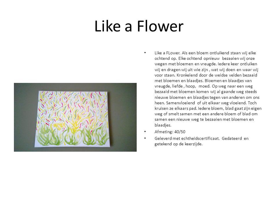 Like a Flower Like a FLower. Als een bloem ontluikend staan wij elke ochtend op.