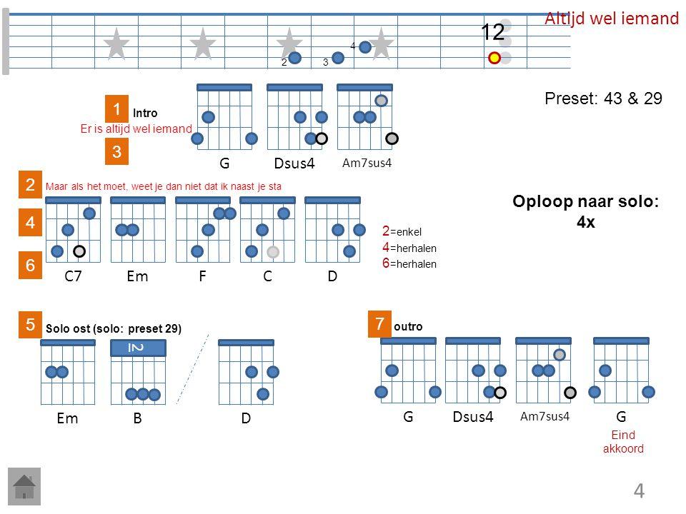 7 Em7 3 G 8 C 5 Dm 7 Em 5 Am7 begin O, Ruby 5 Am7 Ruby Eind akkoord 5 Dm7 5 45 5 1-3 7 Em ---intro--