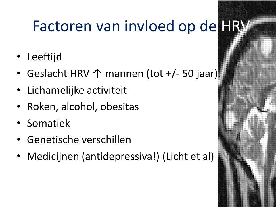 Factoren van invloed op de HRV Leeftijd Geslacht HRV ↑ mannen (tot +/- 50 jaar). Lichamelijke activiteit Roken, alcohol, obesitas Somatiek Genetische