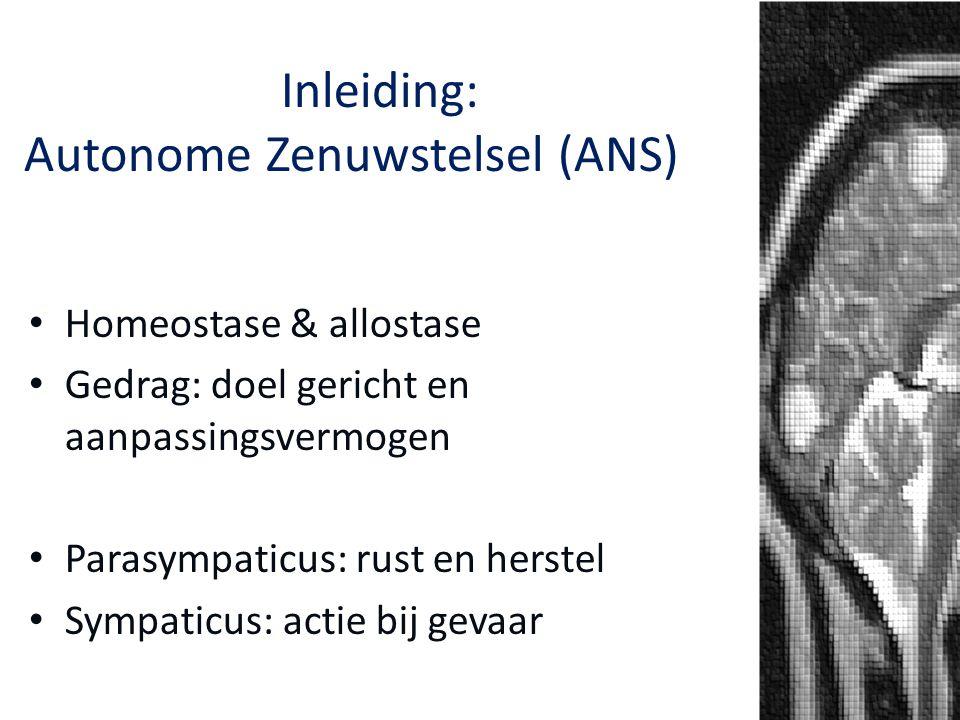 Het Autonome Zenuwstelsel: Inleiding: Autonome Zenuwstelsel (ANS)NS Een gezond ANS: -flexibel (met name door para) -voorkomen van energieverlies Dus: (langdurig) para ↓ + sympa ↑ = (psycho)pathologie ↑ ↑ para = gezondheid