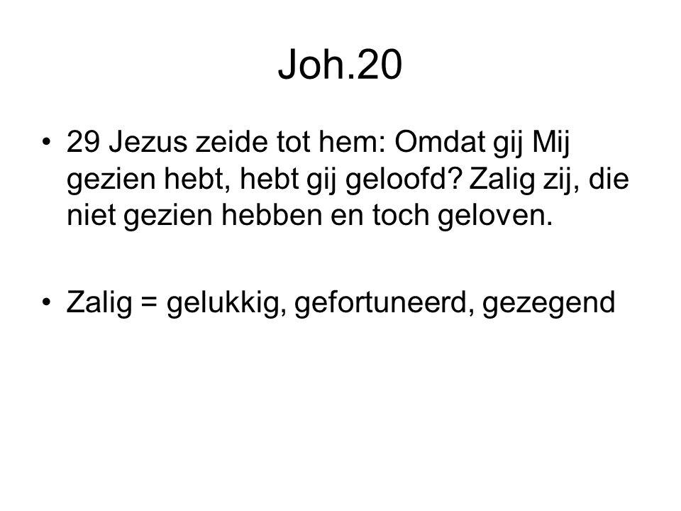 Joh.20 29 Jezus zeide tot hem: Omdat gij Mij gezien hebt, hebt gij geloofd.
