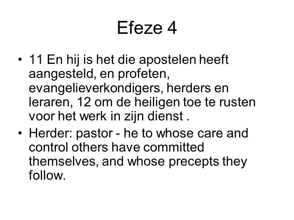 Efeze 4 11 En hij is het die apostelen heeft aangesteld, en profeten, evangelieverkondigers, herders en leraren, 12 om de heiligen toe te rusten voor het werk in zijn dienst.