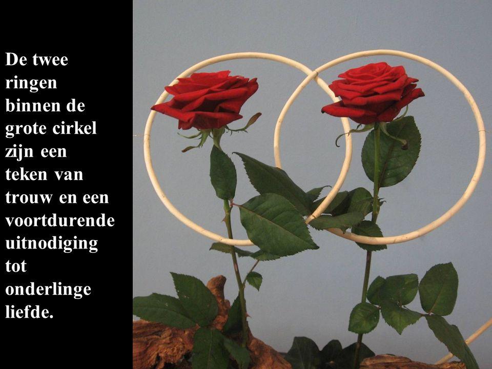 De twee ringen binnen de grote cirkel zijn een teken van trouw en een voortdurende uitnodiging tot onderlinge liefde.