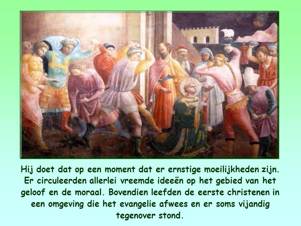 De apostel Johannes schrijft een brief aan de christelijke gemeenschappen die hij heeft gesticht.