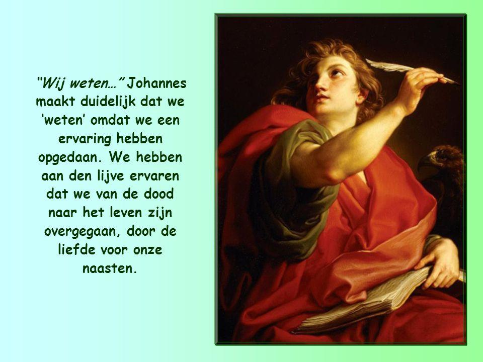 Wij weten dat we van de dood zijn overgegaan naar het leven omdat we elkaar liefhebben. 1 Johannes 3,14