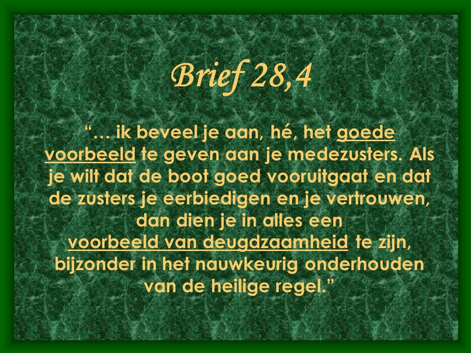 Brief 28,4 … ik beveel je aan, hé, het goede voorbeeld te geven aan je medezusters.