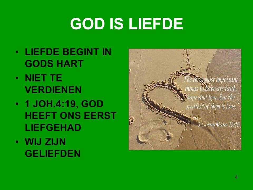 4 GOD IS LIEFDE LIEFDE BEGINT IN GODS HART NIET TE VERDIENEN 1 JOH.4:19, GOD HEEFT ONS EERST LIEFGEHAD WIJ ZIJN GELIEFDEN
