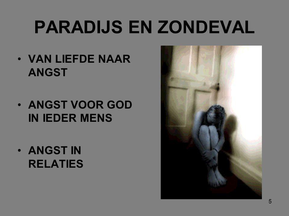 5 PARADIJS EN ZONDEVAL VAN LIEFDE NAAR ANGST ANGST VOOR GOD IN IEDER MENS ANGST IN RELATIES