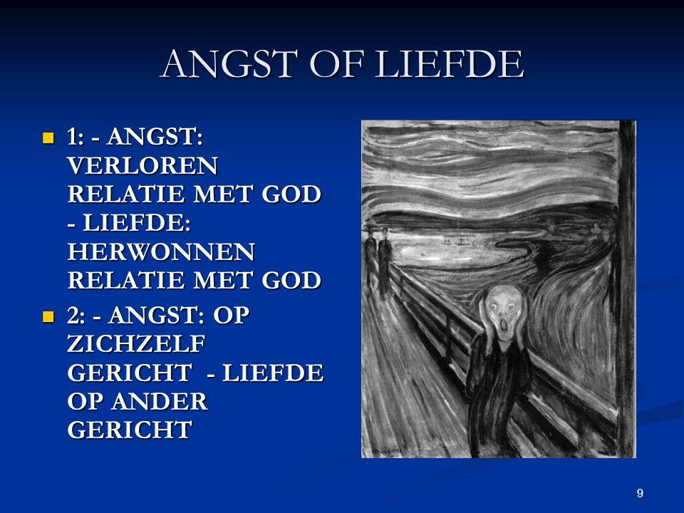 9 ANGST OF LIEFDE 1: - ANGST: VERLOREN RELATIE MET GOD - LIEFDE: HERWONNEN RELATIE MET GOD 1: - ANGST: VERLOREN RELATIE MET GOD - LIEFDE: HERWONNEN RELATIE MET GOD 2: - ANGST: OP ZICHZELF GERICHT - LIEFDE OP ANDER GERICHT 2: - ANGST: OP ZICHZELF GERICHT - LIEFDE OP ANDER GERICHT