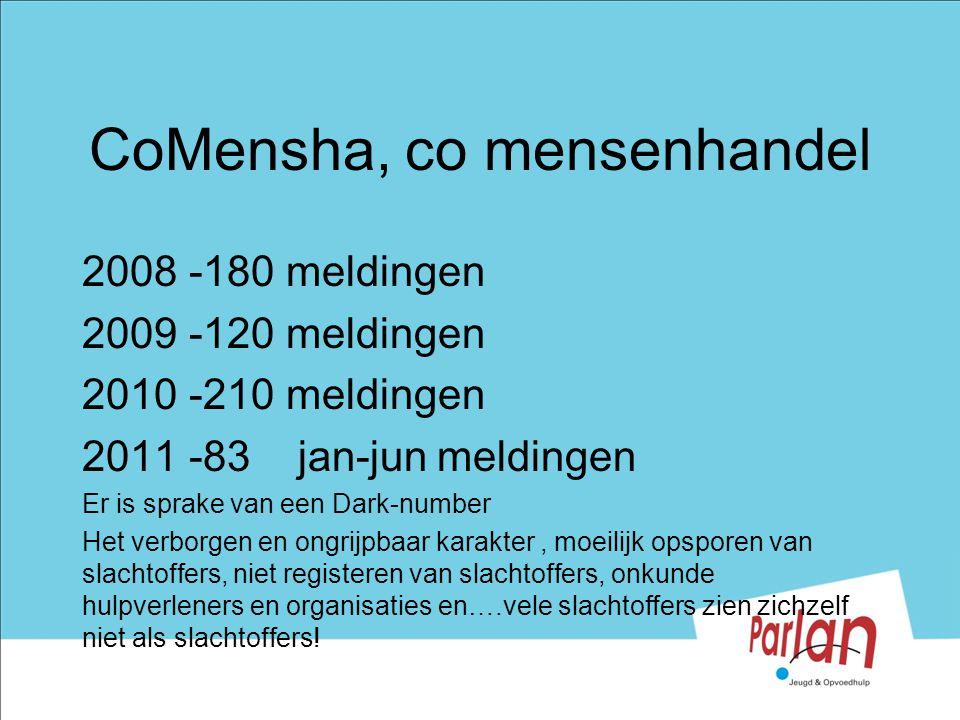 CoMensha, co mensenhandel 2008 -180 meldingen 2009 -120 meldingen 2010 -210 meldingen 2011 -83 jan-jun meldingen Er is sprake van een Dark-number Het