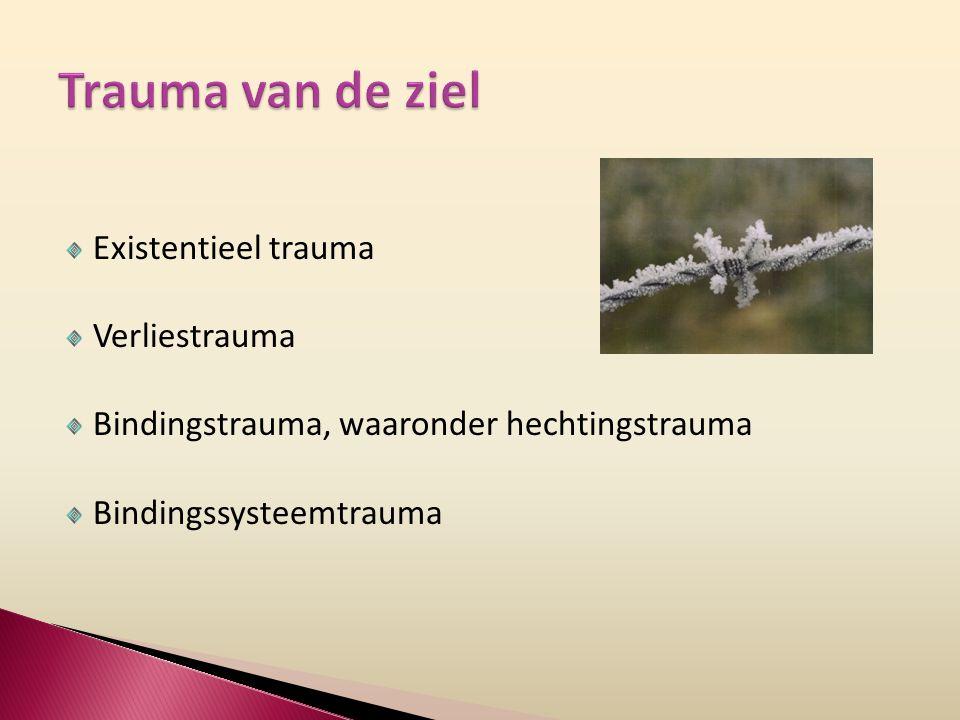 Existentieel trauma Verliestrauma Bindingstrauma, waaronder hechtingstrauma Bindingssysteemtrauma