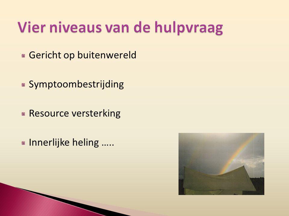 Gericht op buitenwereld Symptoombestrijding Resource versterking Innerlijke heling …..