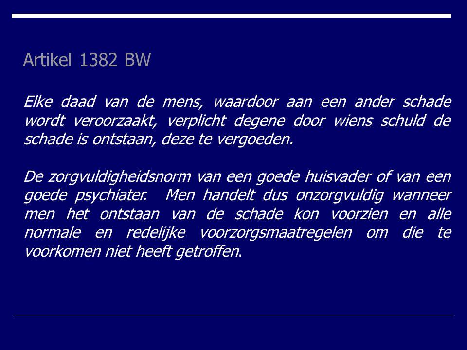 Artikel 1382 BW Elke daad van de mens, waardoor aan een ander schade wordt veroorzaakt, verplicht degene door wiens schuld de schade is ontstaan, deze