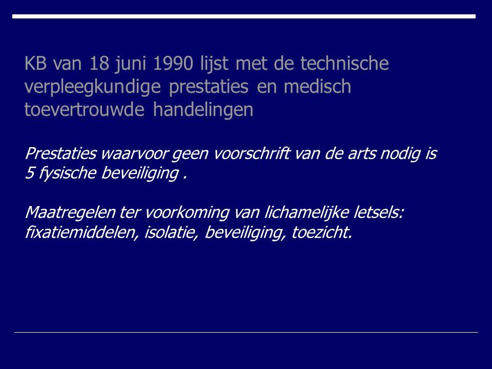 KB van 18 juni 1990 lijst met de technische verpleegkundige prestaties en medisch toevertrouwde handelingen Prestaties waarvoor geen voorschrift van d