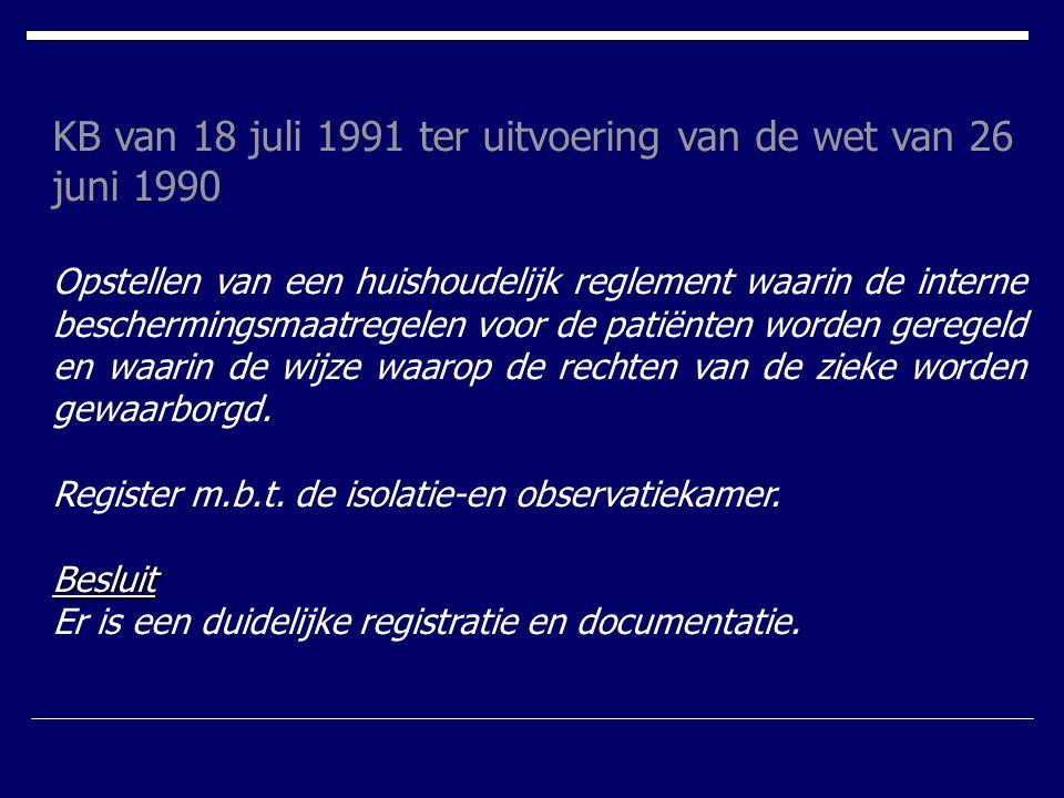 KB van 18 juli 1991 ter uitvoering van de wet van 26 juni 1990 Opstellen van een huishoudelijk reglement waarin de interne beschermingsmaatregelen voo