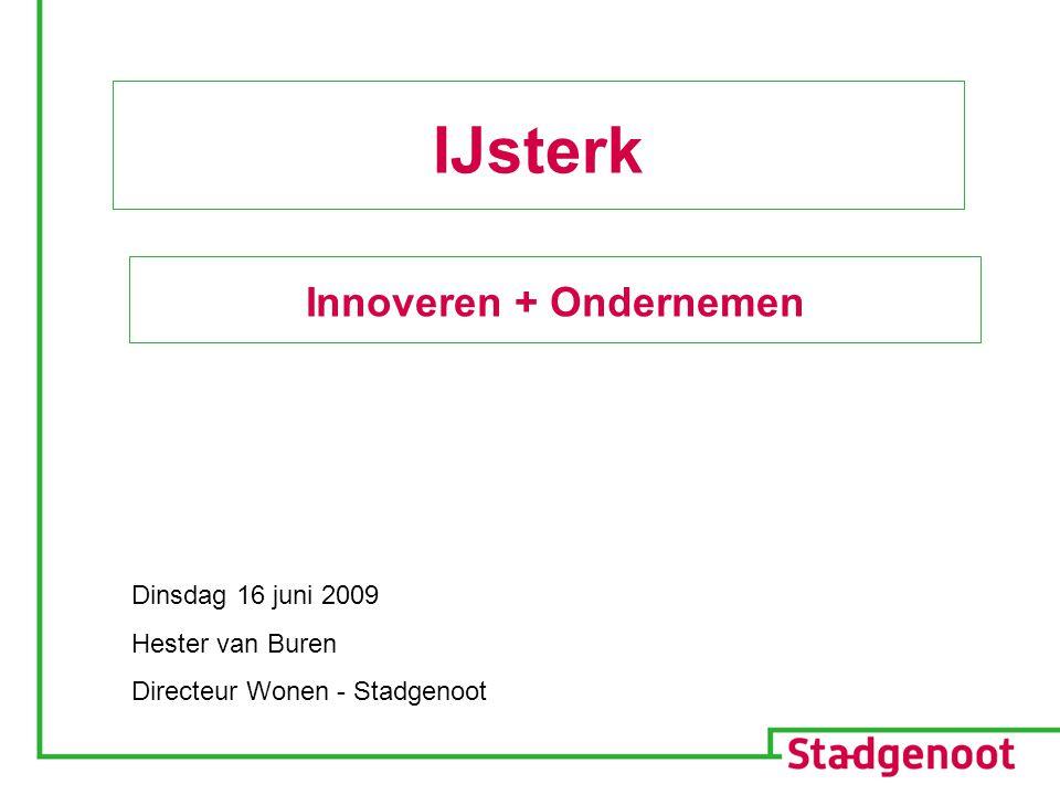 Dinsdag 16 juni 2009 Hester van Buren Directeur Wonen - Stadgenoot IJsterk Innoveren + Ondernemen