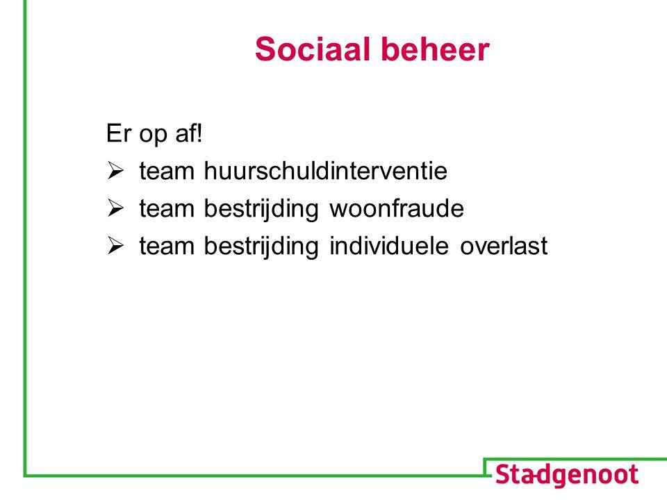 Sociaal beheer Er op af!  team huurschuldinterventie  team bestrijding woonfraude  team bestrijding individuele overlast