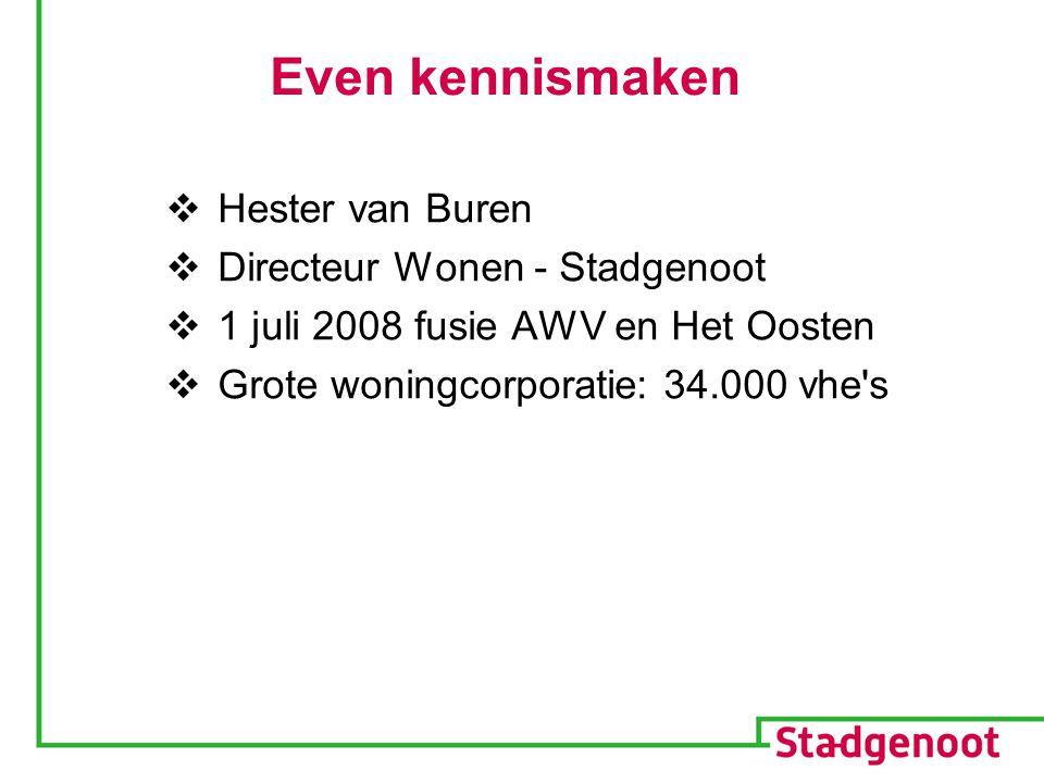 Even kennismaken  Hester van Buren  Directeur Wonen - Stadgenoot  1 juli 2008 fusie AWV en Het Oosten  Grote woningcorporatie: 34.000 vhe s