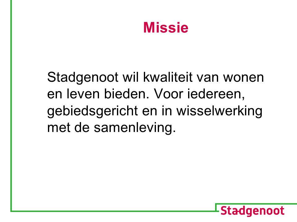 Missie Stadgenoot wil kwaliteit van wonen en leven bieden. Voor iedereen, gebiedsgericht en in wisselwerking met de samenleving.