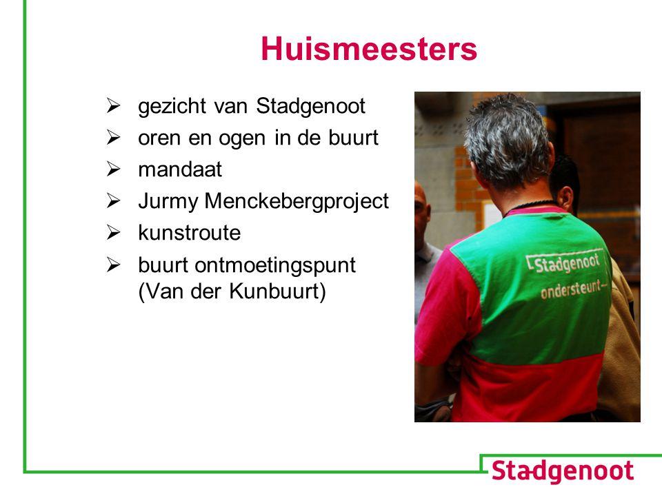 Huismeesters  gezicht van Stadgenoot  oren en ogen in de buurt  mandaat  Jurmy Menckebergproject  kunstroute  buurt ontmoetingspunt (Van der Kunbuurt)