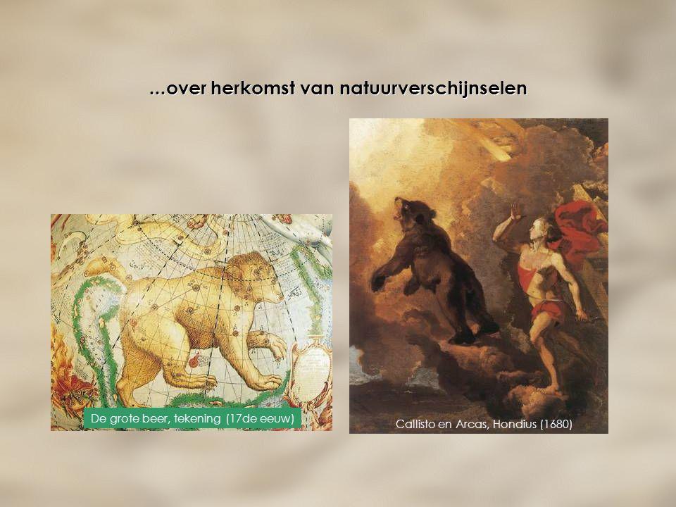 ...over herkomst van natuurverschijnselen De grote beer, tekening (17de eeuw) Callisto en Arcas, Hondius (1680)